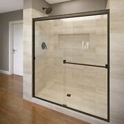 Basco Classic Sliding Shower Door Fits 40-44 Inch Opening Clear Glass Oil Rub...