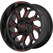 Moto Metal Mo999 22x12 8x170 Et-44 Gloss Black Milled With Red Tint Qty Of 4