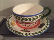 Strata Group Hand Painted Cup And Saucer Set Fresh And Fruity Pattern