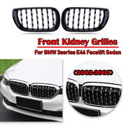Pair Front Kidney Grille Grill Diamond Mesh Chrome Fit Bmw E46 4 Door 2002-2005