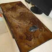 Xl World Gaming Mouse Pad Rubber Locking Edge Desk Fantasy Brown Earth Map Mat