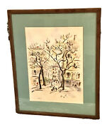 Vintage Betty Guy Watercolor Ink Landscape City Park Painting Drawing Signed