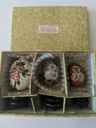 Set Of 3 Cloisonne Eggs With Wood Stands/ Original Box Made For Lillian Vernon