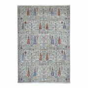 6'x9' Gray With Pop Of Color Willow And Cypress Tree Design Hand Made Rug G54817