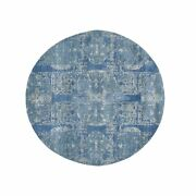 4and039x4and039 Round Blue Wool And Pure Silk Jewellery Design Hand Knotted Rug G49949