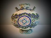 Fine Antique Unmarked Nippon Moriage Japan Hand Painted Vase Colorful Vibrant