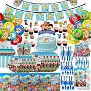 Party Supplies Cocomelon Kids Decoration Tablecloth Balloon Banner Cups Birthday
