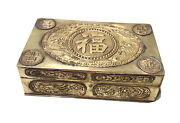 Vintage Antique Chinese Brass Wood Inside Decorated Trinket Jewelry Box Holder