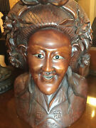 Antique Carved China/ Bali Head Bust Lifesize Statue 14andrdquox10andrdquo Ornate Wooden Glass
