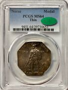 1925 Norse American Medal Thin Pcgs Ms64 Cac