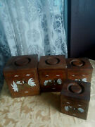 Set Of 4 Vintage Dovetail Rooster Painted Wood Nesting Kitchen Canisters W/ Lids