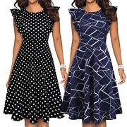 Women's Elegant Ruffle Floral Party Cocktail Formal Swing Summer Casual Dresses