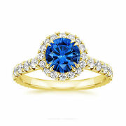 2.60 Carat Real Diamond Blue Sapphire Rings Solid 14k Yellow Gold Size 6 7 8.5 9