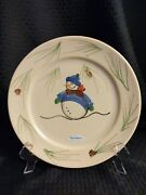 Dinner Plate Snowman W/blue Hat And Sweater By Emerson Creek Pottery W/sticker