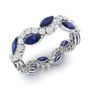 3.40 Carat Natural Diamond Blue Sapphire Rings Solid 14k White Gold Size 5 6 7 8