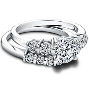 1.40 Carat Real Diamond Engagement Band Sets 14k Solid White Gold Size 5 6 7 8.5