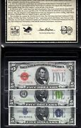 5 Set 1928 Red Seal And Green Seal Gold Cert And 1934 Blue Seal Silver Cert