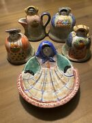 The Cellar Art Pottery Salt And Pepper, Creamer And Sugar And Dish