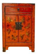 Diminutive Antique Red Lacquer Asian Side Chest With Gilt Butterfly Motifandnbsp