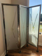Beautiful Ethan Allen 3-panel Glass Screen From Radius Collection. Rare