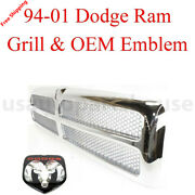 New 1994-2001 For Dodge Ram 1500 2500 3500 Chrome Grill And Oem Ch1200178 2pcs