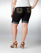 Nwt Dereon Rising Star Denim Jeanbling Jegging Shorts Plus Size Stretchy