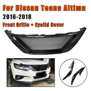 Front Bumper Grill Grille + Eyelid Cover For Nissan Teana Altima 2016-2018 Black