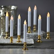 Christmas Window Candles With Gold Holders - Battery Operated White Flameless