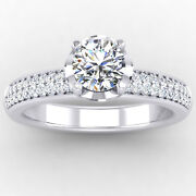 0.76 Carat Real Diamond Engagement Bridal Ring 14k Solid White Gold Size 6 7 8 9