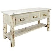 Rustic Entry Way Log Foyer Table Drawers Amish Made Handcrafted Cabin Furniture