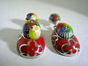 Baby Shoe Earrings With Murano Glass Floral Pattern Set In Stainless Steel