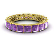4.40 Carat Real Diamond Amethyst Bridal Bands Solid 14k Yellow Gold Size 6 7 8 9