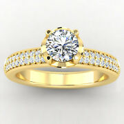 0.76 Carat Round Real Diamond Engagement Ring 14k Solid Yellow Gold Size 5 6 7 8
