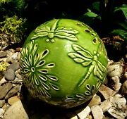 Dragonfly Ceramic Embossed Garden Globe. Lights Up At Night. Battery Operated