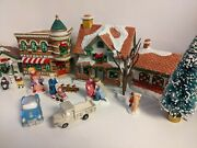 1991 Christmas Valley Collectibles Christmas Village With Cars And Trees Etc.