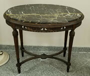 Antique Late 19c Louis Xvi Revival Walnut W Black Marble Oval Parlor Side Table