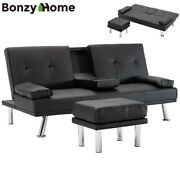 Air Leather Sofa Bed Convertible Folding Futon Couch Loveseat W Cup Holder Stool
