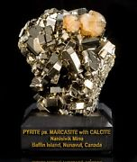Pyrite Ps. Marcasite Pseudomorph With Calcite - Mineral Specimen From Canada