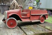 Antique 1920's Buddy L Wood And Metal Toy Model Fire Truck