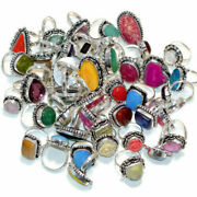 200 Pcs Wholesale Lot Mix Gemstone Ring 925 Sterling Silver Plated Jewellery