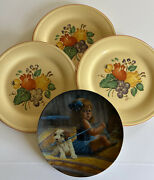 4 Vintage Variety Collectible Plates Gregory Perillo And Edwin M. Knowles