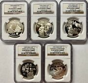 1995 China Silver 5 Yuan Inventions And Discoveries 5 Coin Set Ngc Pf69 Ucam