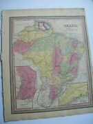 Antique 1854 Mitchell Map South America Brazil Old