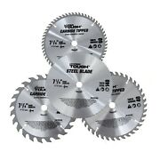 4 Pack Standard 7-1/4 Inch Carbide Tipped And Steel Circular Saw Blades