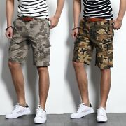 Menand039s Loose Beach Outdoor Sport Multi Pocket Camouflage Overalls Shorts Pants