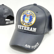 Us Air Force Veteran Navy Blue Military Baseball Cap Hat Faux Leather Quality