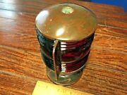 Vintage Perko Soup Can Bronze Bow Light Red/green Glass Lens New Socket/led