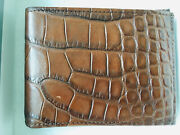 New In Box Mens Leather Slim Fold Wallet Msrp 700. Brown Made In Usa