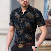 Menand039s Casual Flower Printed Shirts Tops Lapel Blouses Button Front Blouses Chic