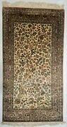 2.5and039 X 4.8and039 Hand Knotted Kashmir Pure Silk Tree Of Life Area Rug